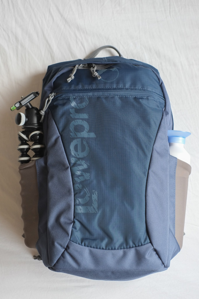 The backpack with water bottle and Gorillapod in the sidepockets