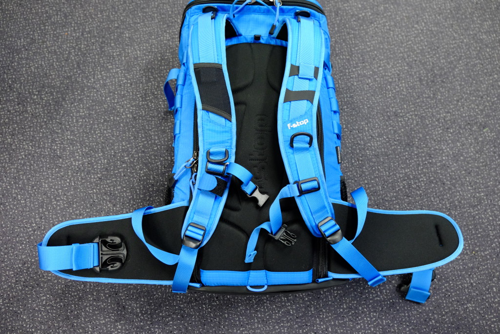 The back of the pack. The two shoulder straps are well padded and contain straps and loops for extra attachments and fastening of the water tube