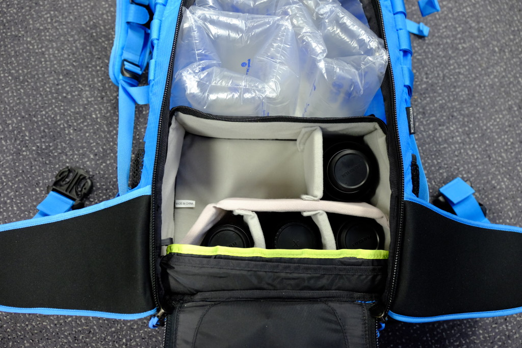 The small ICU inside the bag. The ICU is fastened to the aluminium frame with two velcro flaps. It takes a few seconds to do this, but once it is in place, it stays in place