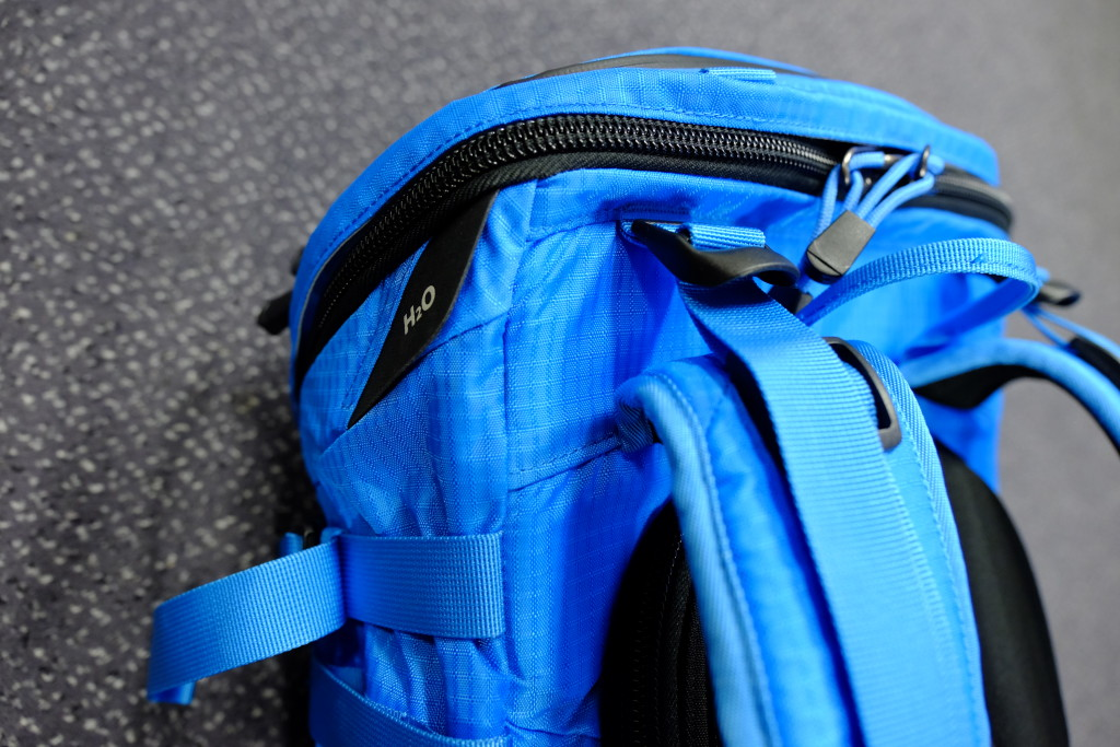The H20 opening for the water tube to the shoulder straps