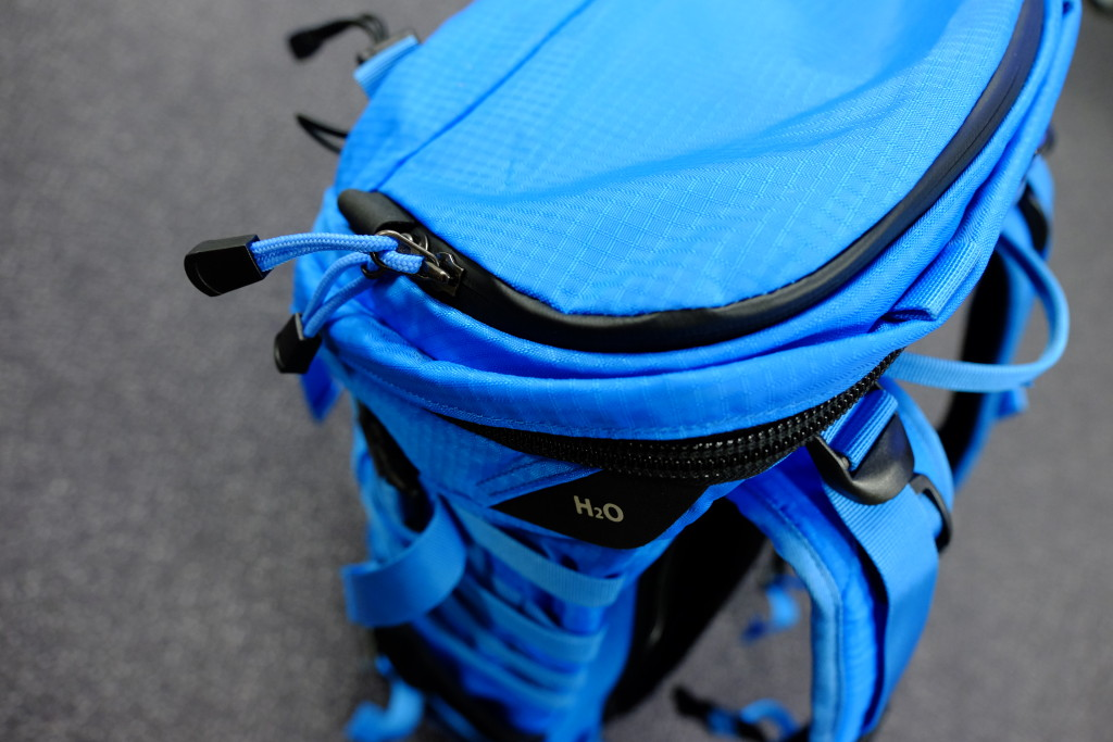 On top of the pack is a small pocket for quick access to essentials. The zipper is waterproof